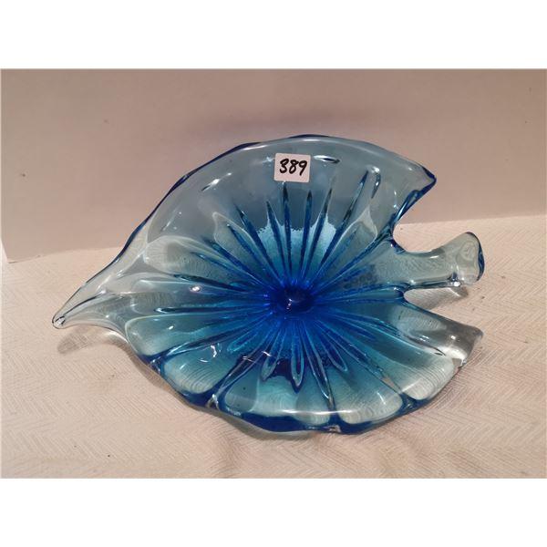 """Blue leaf glass 11 X 8"""""""