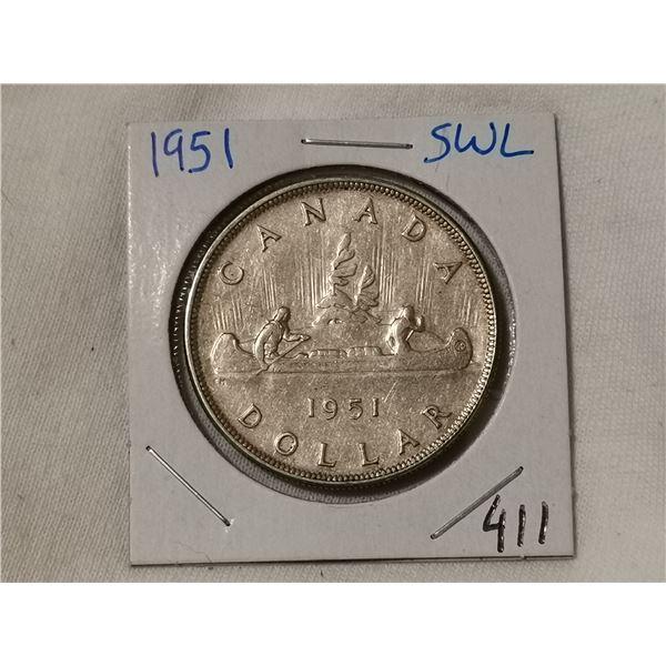 1951 SWL silver dollar