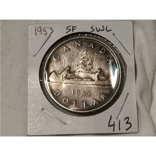 1953 SF SWL silver dollar