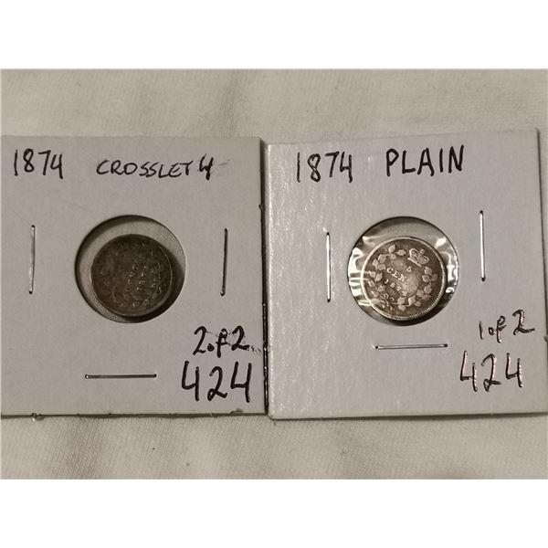 pair of 1874 5 cent, plain & crosslet 4