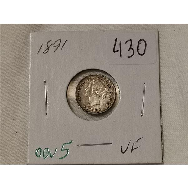 1891 silver 5 cent VF