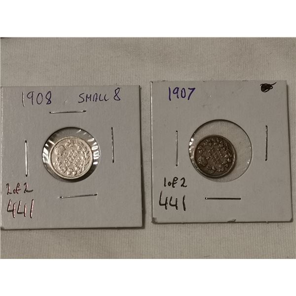1907 & 1908 small 8 silver 5 cents