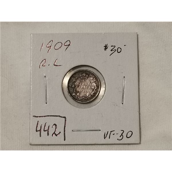 1909 R.L. round leaves, VF30 silver 5 cent