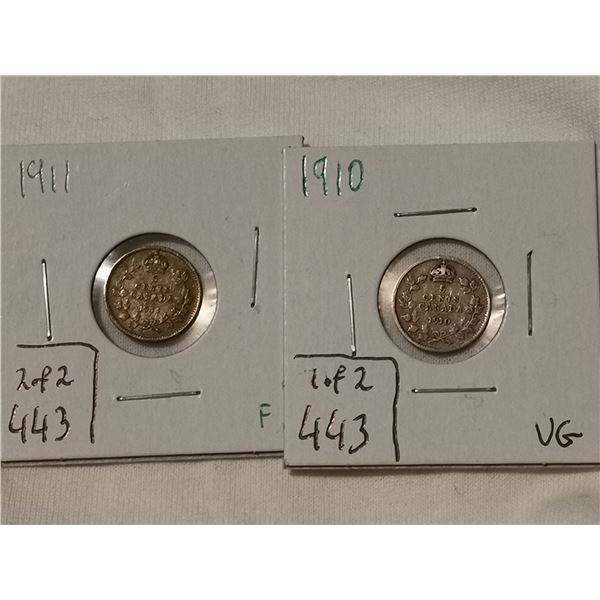 1910 & 1911 silver 5 cents