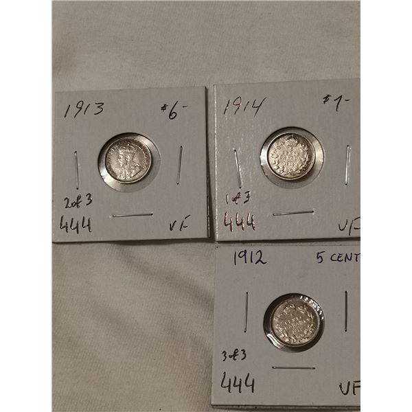 Three VF 1912, 1913, 1914 silver 5 cents