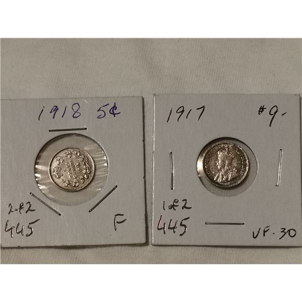 1917 & 1918 silver 5 cents