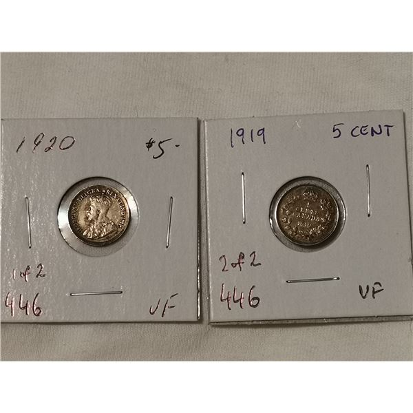 1919 & 1920 silver 5 cents VF