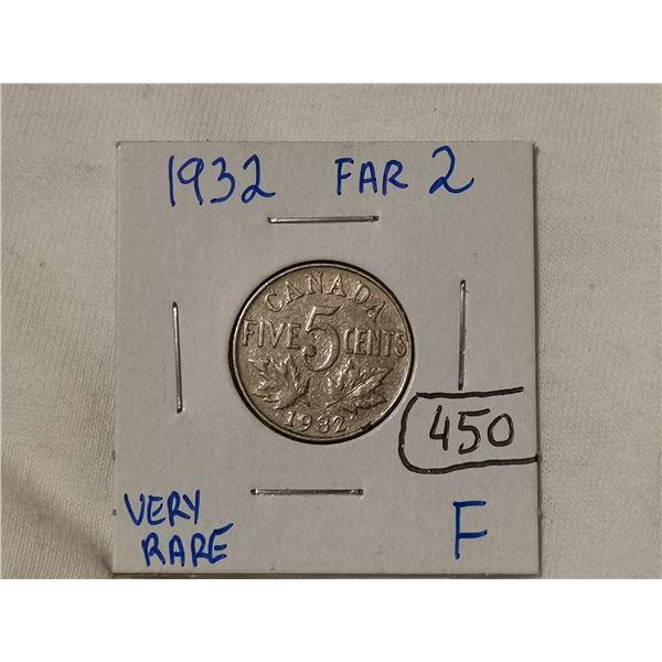 Very rare 1932 far 2 five cent coin