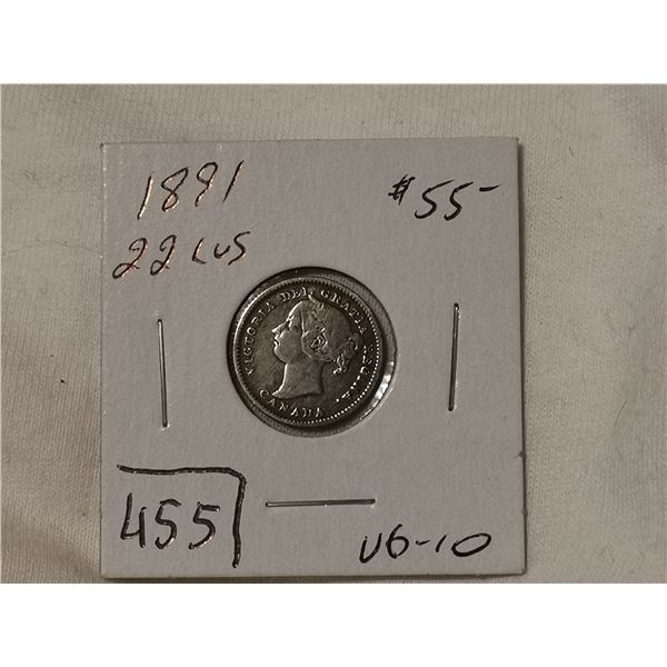 1891 22 leaves silver 10 cent
