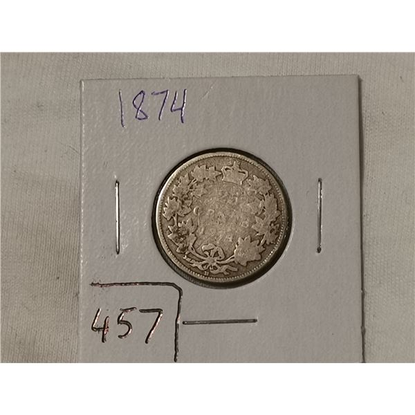 1874 silver 25 cent