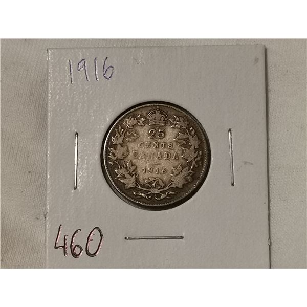 1916 silver 25 cent