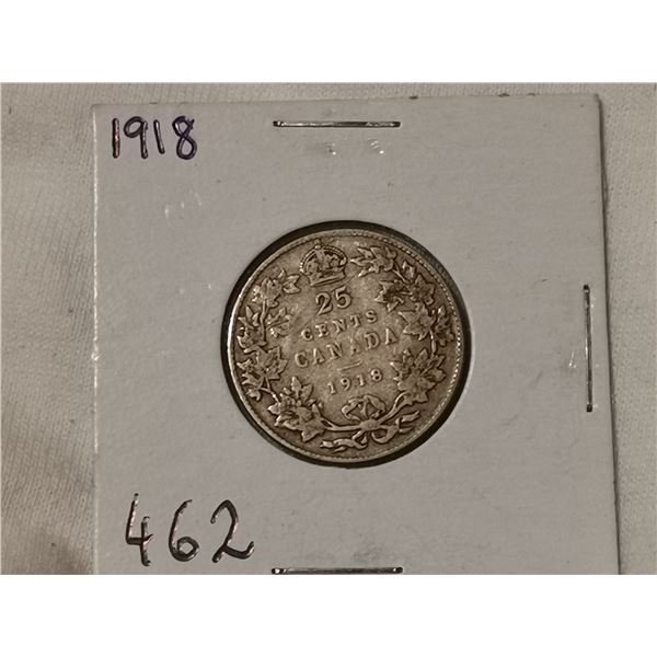1918 silver 25 cent