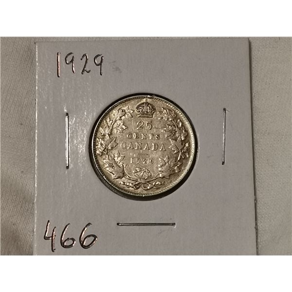 1929 silver 25 cent
