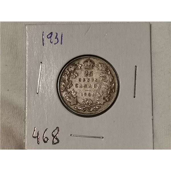 1931 silver 25 cent