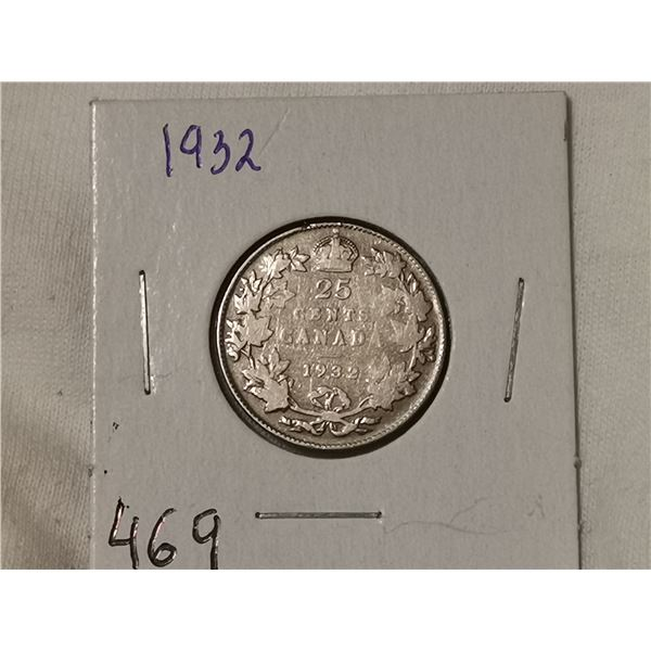 1932 silver 25 cent