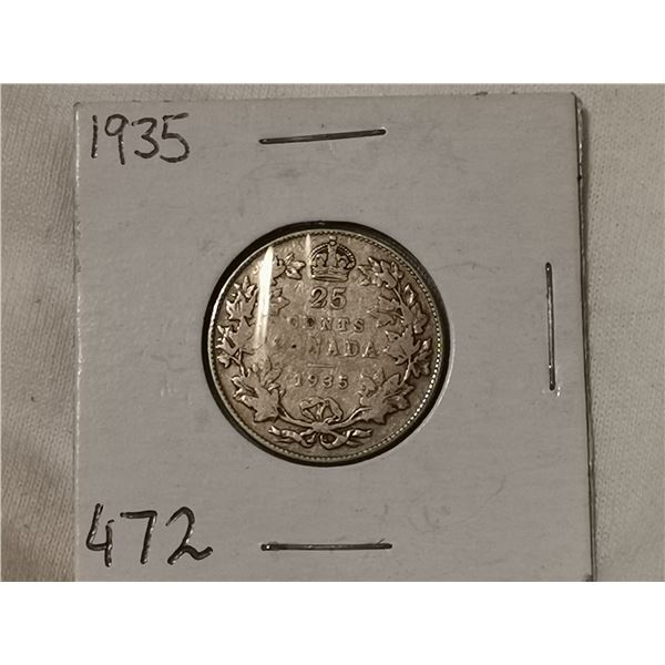 1935 silver 25 cent