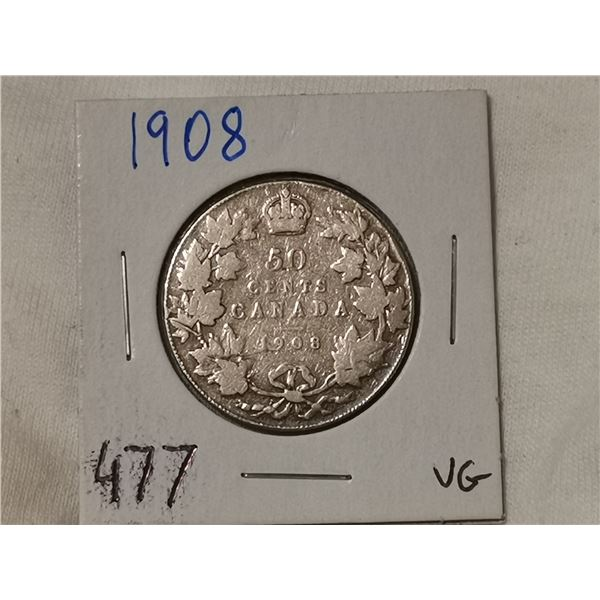 1908 silver 50 cent coin