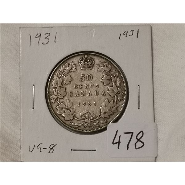 1931 silver 50 cent coin