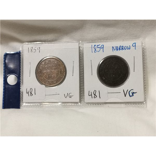 two 1859 one cent coins