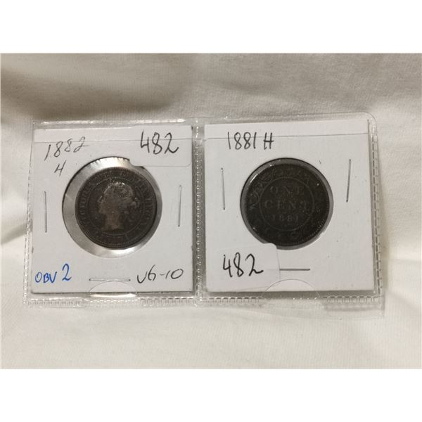 1881H & 1882H one cent coins