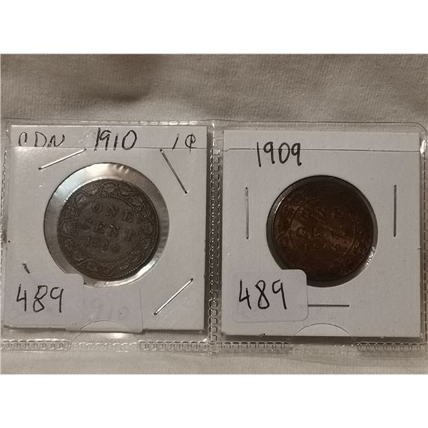 1909 & 1910 one cent coins