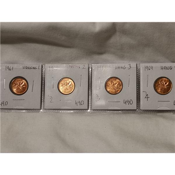 1961, 62, 63, 64 hanging 1 cent coins, high grades