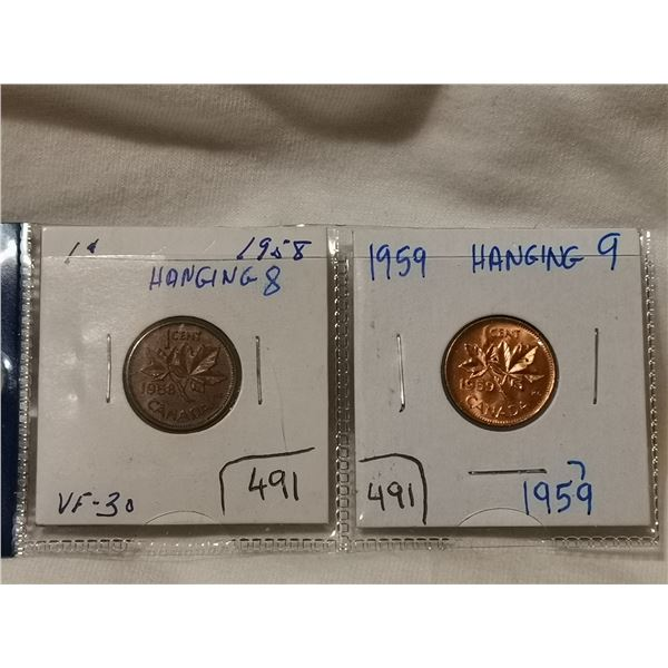1958 & 1959 hanging one cent coins
