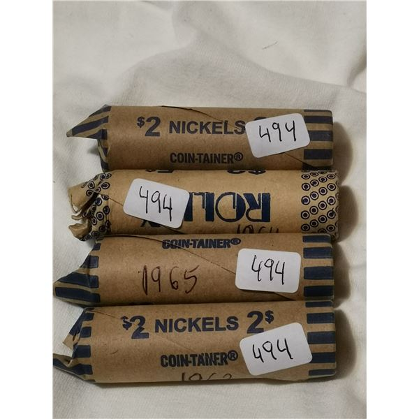 Full rolls of 5 cent coins, 1962, 64, 65, 67