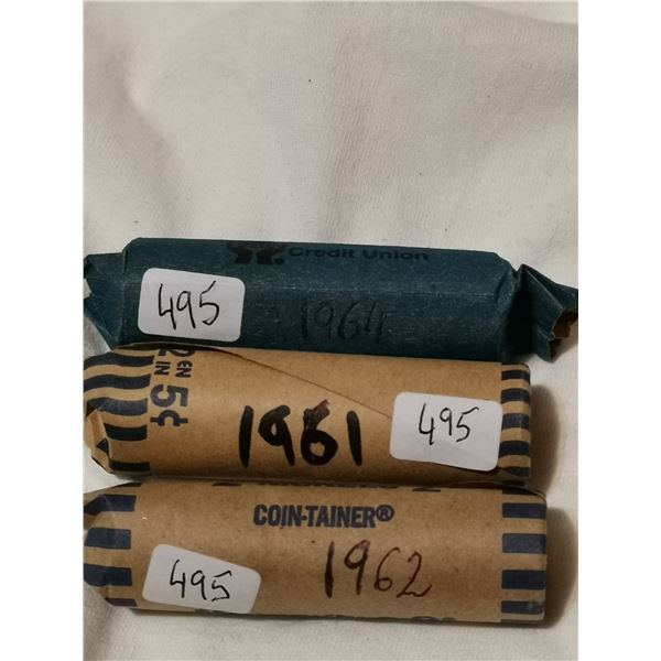 Full rolls of 5 cent coins, 1961, 62, 64