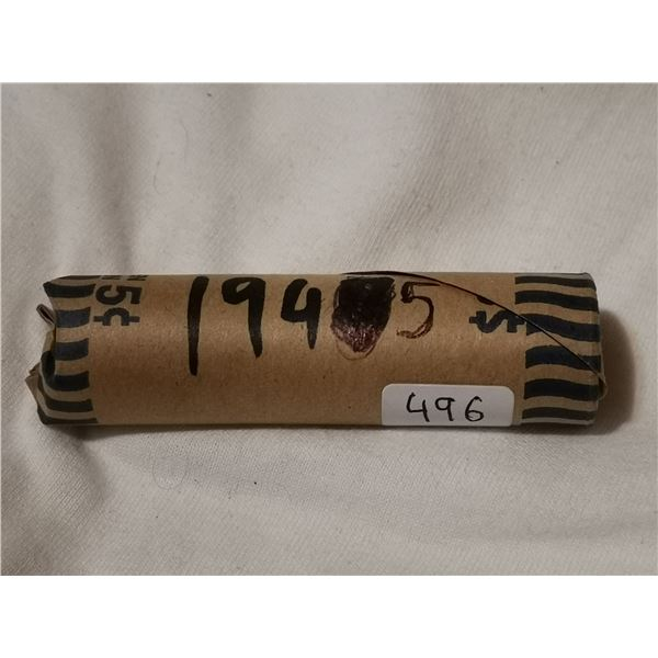 Full roll of 1945 5 cent coins