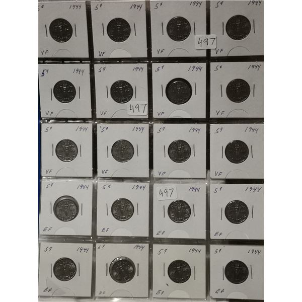 Full sheet of 1944 5 cent coins, nice grades
