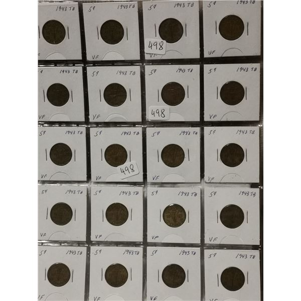 Full sheet of 1943 Tombac 5 cent coins