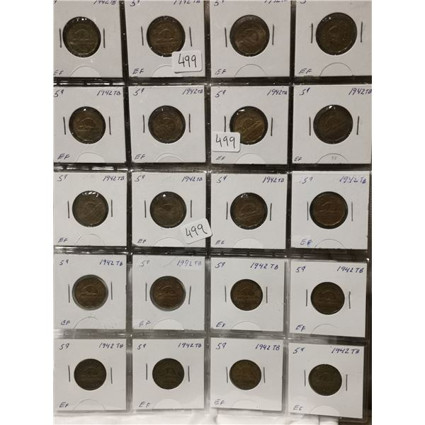 Full sheet of 1942 Tombac 5 cent coins