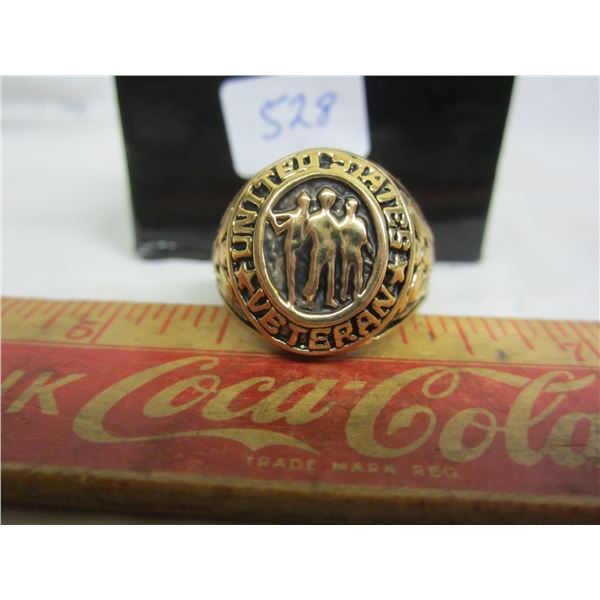 Gold Plated Ring with U.S.A. Veterans