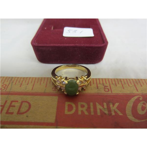 Gold Plated Ring with Jade Stone