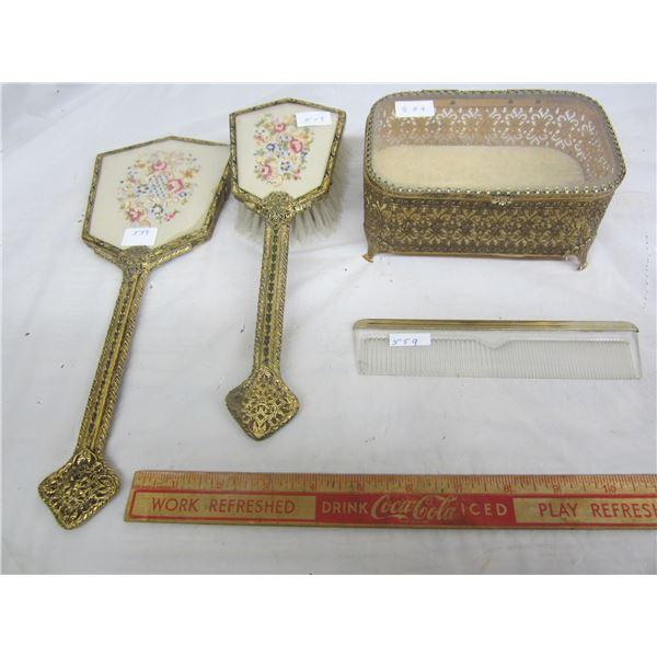 4 Piece Brass Dresser Set Including Jewellery Box