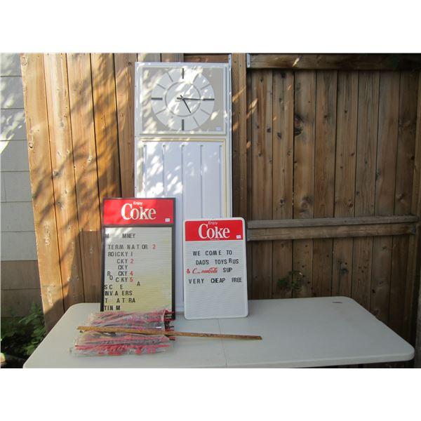 2 Coke Menu Boards and Menu Clock and Bag Full of Letters