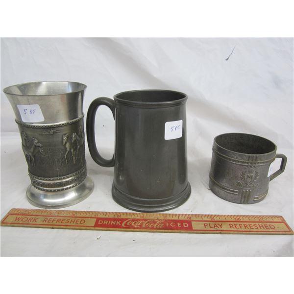 3 Vintage Metal Mugs