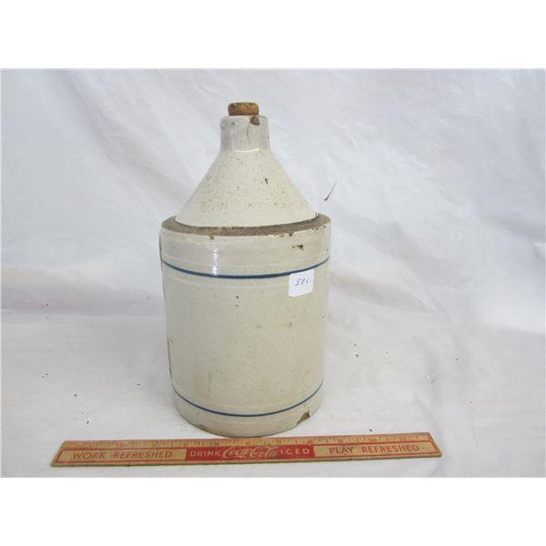 Antique 2 Blue Banded 1/2 Gallon Stoneware Jug
