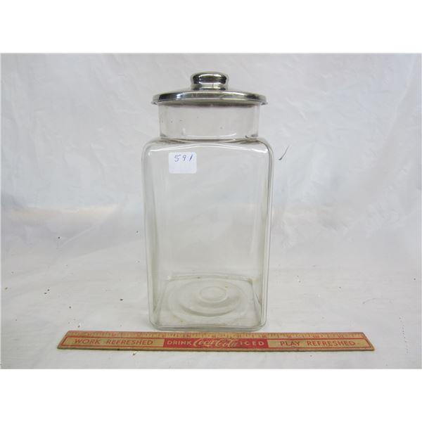 Antique Square Glass Candy Jar
