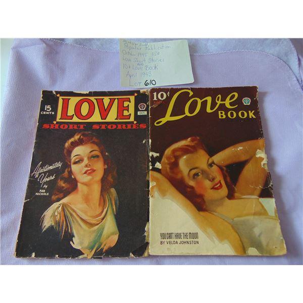 POPULAR PUBLICATIONS 1945 & 1943 LOVE SHORT STORIES & LOVE BOOK