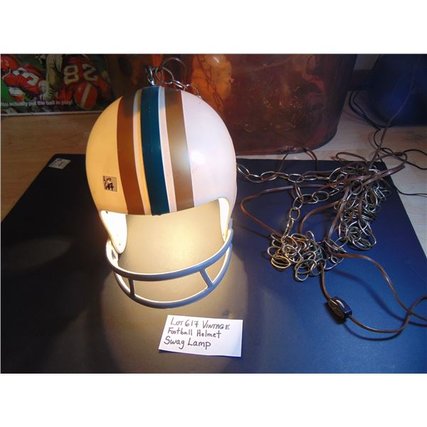 617 VINTAGE FOOTBALL HELMET SWAG LAMP