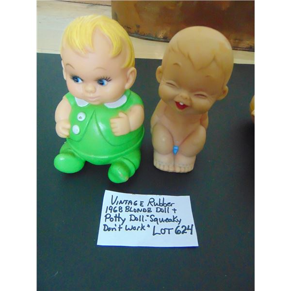 624 1968 BLONDE BOY AND POTTY DOLL SQUEAKY NOT WORKING