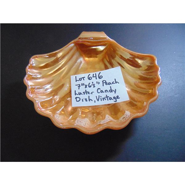 646 VINTAGE PEACH LUSTER CANDY DISH