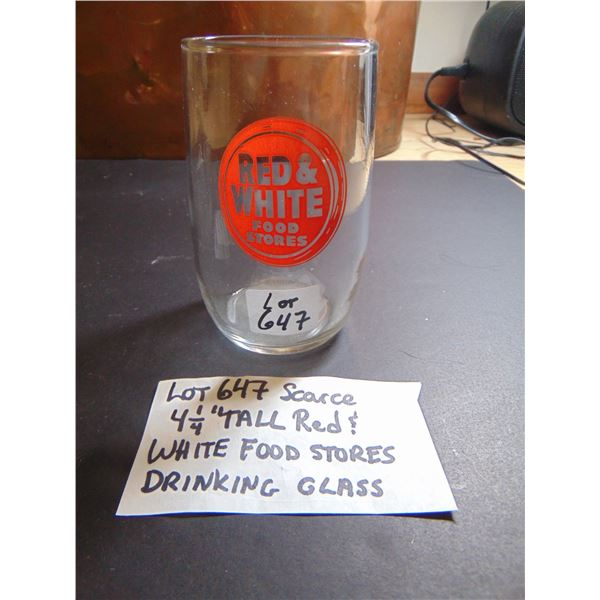 647 SCARCE RED & WHITE FOOD STORES DRINKING GLASS