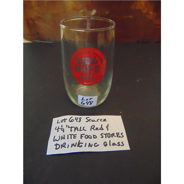 648 SCARCE RED & WHITE FOOD STORES DRINKING GLASS