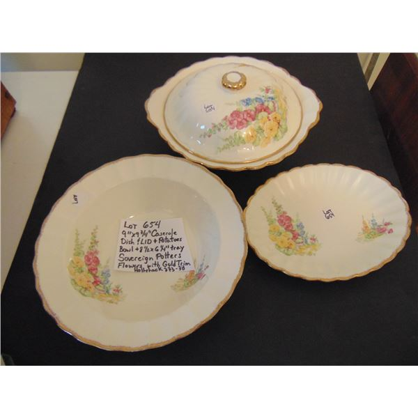 654 SOVEREIGN POTTERS HOLLYHOCK PATTERN SERVING DISHES