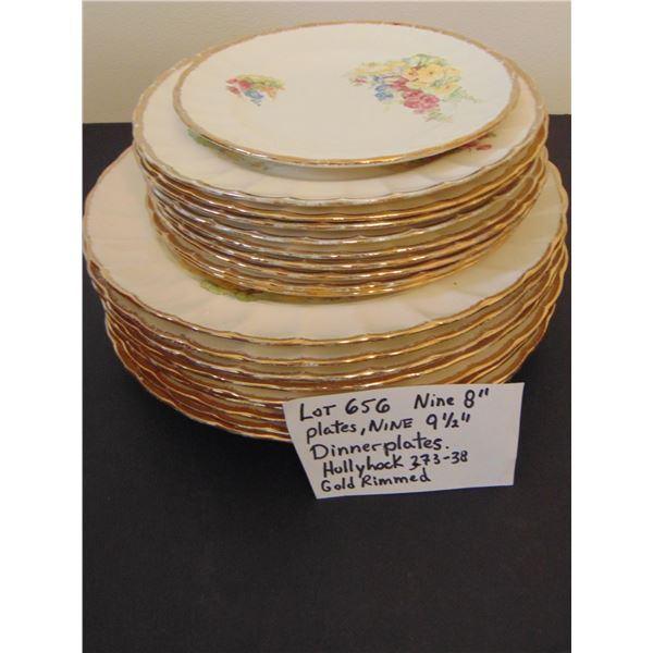 """656 9 SOVEREIGN POTTERS HOLLYHOCK PATTERN 8"""" PLATES, & 9 ½"""" PLATES"""