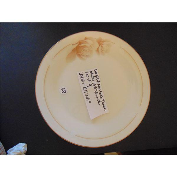 "657 9 9 ½"" IVORY CHINA NORITAKE DINNER PLATES."