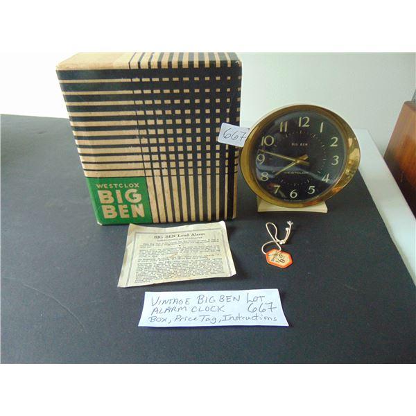 667 VINTAGE BIG BEN ALARM CLOCK BOX AND PRICE TAG